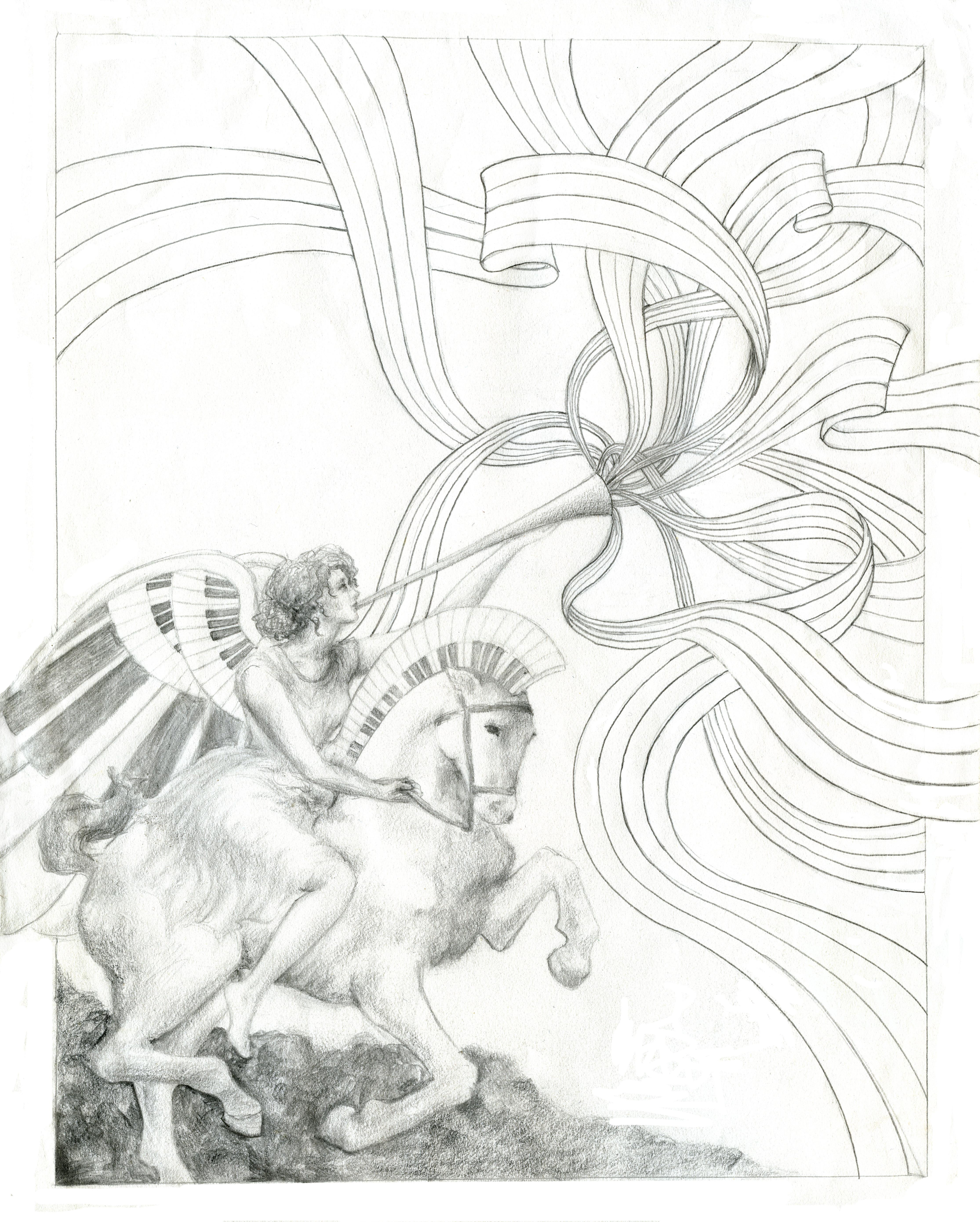 Musical Angel on Horse