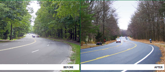 Side-by-side photos depict a roadway before a road diet application and the same roadway after the road diet application, which turned it from a four-lane roadway to a three-lane roadway with a center two-way left-turn lane.