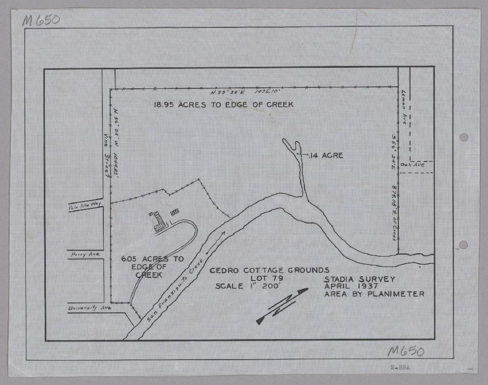 1937 map of Cedro Cottage, now Oak Knoll School