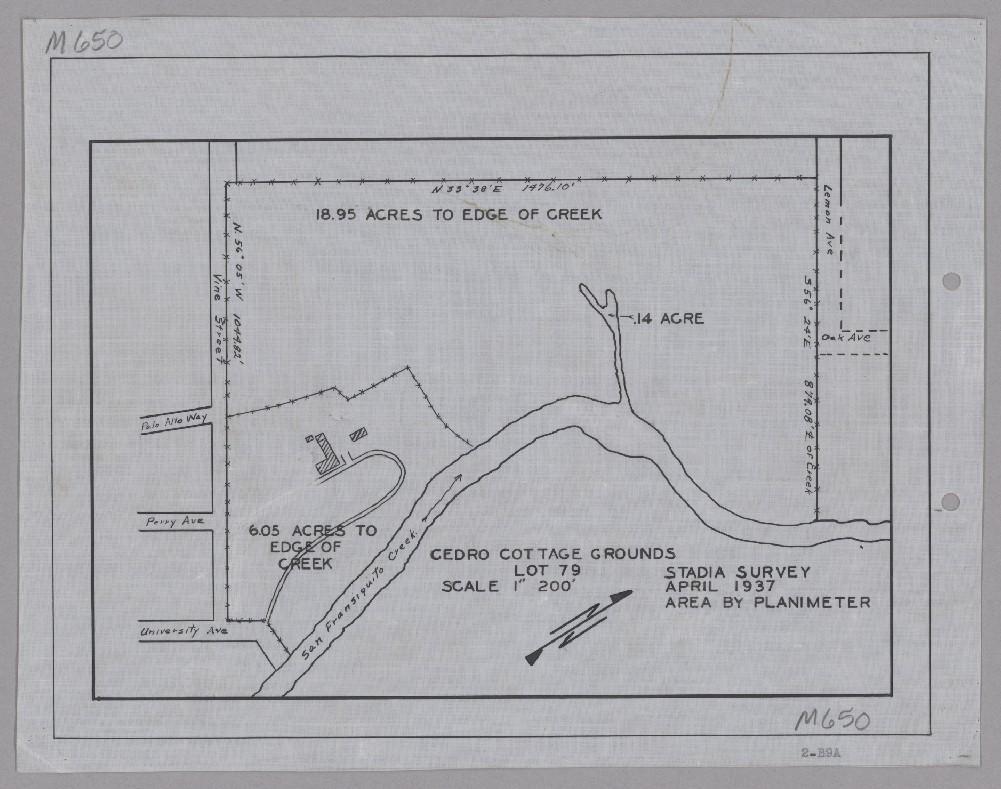 1937 map of Cedro Cottage, now Oak Knoll School